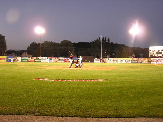 Bowman field from behind home plate lights